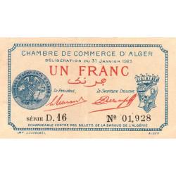 Algérie - Alger 137-26 - 1 franc - Série D.16 - 31/01/1923 - Etat : SUP+