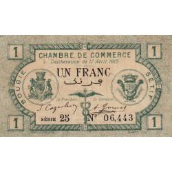 Algérie - Bougie-Sétif 139-02 - 1 franc - 17/04/1915 - Etat : TTB