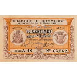 Algérie - Bougie-Sétif 139-3 - 50 centimes - Série A18 - 09/03/1918 - Etat : SPL+