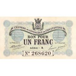 Algérie - Constantine 140-01 - 1 franc - Série A - 1915 - ETAT : SUP