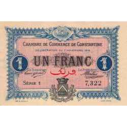 Algérie - Constantine 140-10 - 1 franc - 1916 - ETAT : NEUF