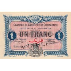 Algérie - Constantine 140-11 annulé - 1 franc - Série 18 - 07/11/1916 - Etat : NEUF