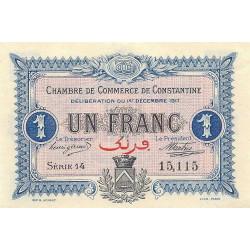 Algérie - Constantine 140-15 - 1 franc - Série 14 - 01/12/1917 - Etat : SPL