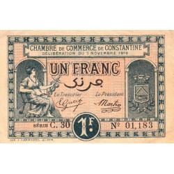 Algérie - Constantine 140-22 - 1 franc - Série C.30 - 03/11/1919 - Etat : SUP