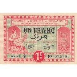 Algérie - Constantine 140-26 - 1 franc - Série E.2 - 13/01/1921 - Etat : SPL