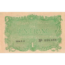 Algérie - Constantine 140-34 - 1 franc - Série B4 - 12/10/1921 - Etat : TTB+