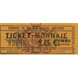 Algérie - Alger 15 - Chemin de fer - 15 centimes - 1915/1920 - Etat : SUP