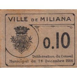 Algérie - Miliana 2 - 0,10 franc - 14/12/1916 - Etat : TTB