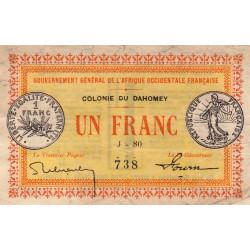 Dahomey - Pick 2b - 1 franc - 11/02/1917 - Etat : TTB+