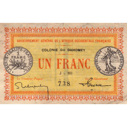 Dahomey - Pick 2b - 1 franc - 1917 - Etat : TTB+