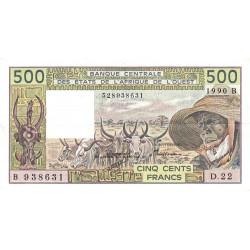 Bénin - Pick 206Bm - 500 francs - Série D.22 - 1991 - Etat : SUP