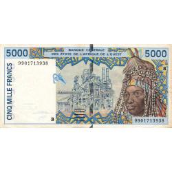 Bénin - Pick 213Bi - 5'000 francs - 1999 - Etat : TB+