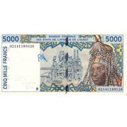 Bénin - Pick 213Bl - 5'000 francs - 2002 - Etat : SPL