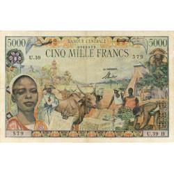 Centrafrique - Afrique Equatoriale - Pick 6b - 5'000 francs - Série U.39 - 1963 - Etat : TB