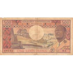 Centrafrique - Pick 1 - 500 francs - Série O.1 - 1974 - Etat : TB- à TB