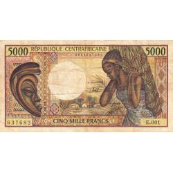 Centrafrique - Pick 12b - 5'000 francs - Série E.001 - 1991 - Etat : TB- à TB