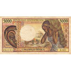 Centrafrique - Pick 12b - 5'000 francs - Série K.001 - 1991 - Etat : TB- à TB