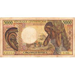 Centrafrique - Pick 12b - 5'000 francs - Série L.001 - 1991 - Etat : TB- à TB