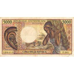 Centrafrique - Pick 12b - 5'000 francs - Série P.001 - 1991 - Etat : TB- à TB