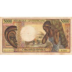 Centrafrique - Pick 12b - 5'000 francs - Série R.001 - 1991 - Etat : TB- à TB