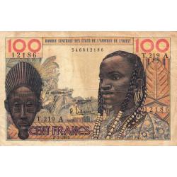 Côte d'Ivoire - Pick 101Ae - 100 francs - Série T.219 - 02/03/1965 - Etat : TB