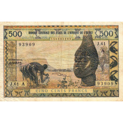 Côte d'Ivoire - Pick 102Ak - 500 francs - Série J.61 - 1975 - Etat : TB+
