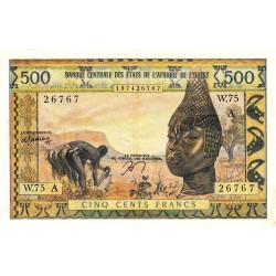 Côte d'Ivoire - Pick 102Am - 500 francs - Série W.75 (billet de remplacement) - 1978 - Etat : TTB+
