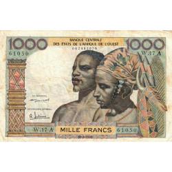 Côte d'Ivoire - Pick 103Ab - 1'000 francs - Série W.17 (billet de remplacement) - 20/03/1961 - Etat : TB-