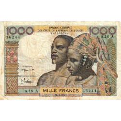 Côte d'Ivoire - Pick 103Ab - 1'000 francs - Série A.18 - 20/03/1961 - Etat : TB-