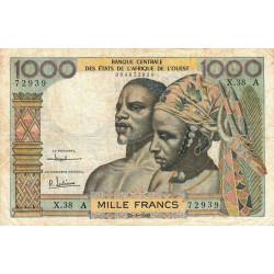 Côte d'Ivoire - Pick 103Ac - 1'000 francs - Série X.38 - 20/03/1961 - Etat : TB-