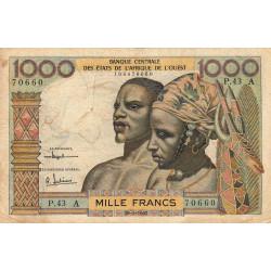 Côte d'Ivoire - Pick 103Ac - 1'000 francs - Série P.43 - 20/03/1961 - Etat : TB-