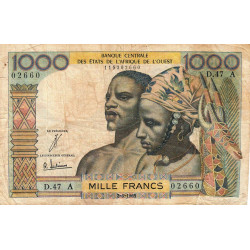 Côte d'Ivoire - Pick 103Ad - 1'000 francs - Série D.47 - 02/03/1965 - Etat : B+