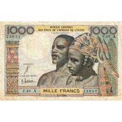 Côte d'Ivoire - Pick 103Ad - 1'000 francs - Série F.49 - 02/03/1965 - Etat : TB-
