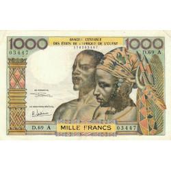 Côte d'Ivoire - Pick 103Af - 1'000 francs - Série D.69 - 1969 - Etat : TB+