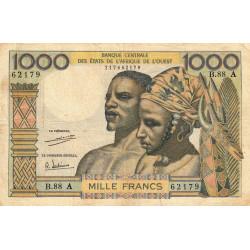 Côte d'Ivoire - Pick 103Ah - 1'000 francs - Série B.88 - 1971 - Etat : TB