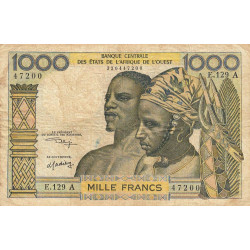 Côte d'Ivoire - Pick 103Ak - 1'000 francs - Série E.129 - 1975 - Etat : TB-