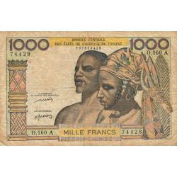 Côte d'Ivoire - Pick 103Al - 1'000 francs - Série D.160 - 1976 - Etat : TB-