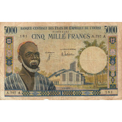 Côte d'Ivoire - Pick 104Ad - 5'000 francs - Série A.797 - 02/03/1965 - Etat : TB-