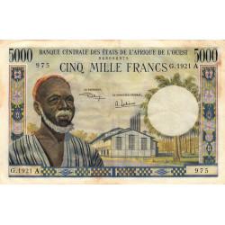 Côte d'Ivoire - Pick 104Ah - 5'000 francs - Série G.1921 - 1974 - Etat : TB+