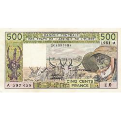 Côte d'Ivoire - Pick 106Ac-2 - 500 francs - Série E.9 - 1981 - Etat : SUP+