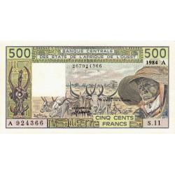 Côte d'Ivoire - Pick 106Ag - 500 francs - Série S.11 - 1984 - Etat : SPL
