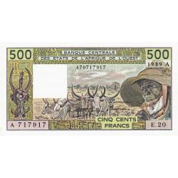 Côte d'Ivoire - Pick 106Al - 500 francs - Série E.20 - 1989 - Etat : pr.NEUF