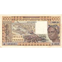 Côte d'Ivoire - Pick 107Ab-1 - 1'000 francs - Série J.005 - 1981 - Erreur numéro - Etat : TB+