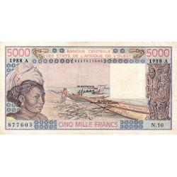 Côte d'Ivoire - Pick 108Af - 5'000 francs - Série N.10 - 1988 - Etat : TTB