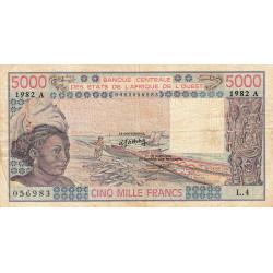 Côte d'Ivoire - Pick 108Ai - 5'000 francs - Série L.4 - 1982 - Etat : TB