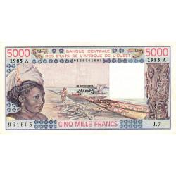 Côte d'Ivoire - Pick 108An - 5'000 francs - Série J.7 - 1985 - Etat : SUP+