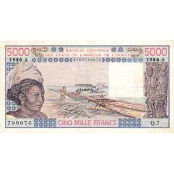 Côte d'Ivoire - Pick 108Ao - 5'000 francs - Série Q.7 - 1986 - Etat : TB+