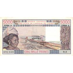 Côte d'Ivoire - Pick 108Ao - 5'000 francs - Série N.8 - 1986 - Etat : SUP+
