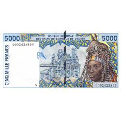 Côte d'Ivoire - Pick 113Aj - 5'000 francs - 2000 - Etat : TTB+