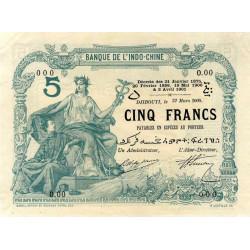 Djibouti - Pick 1 spécimen - 5 francs - 1901 - Etat : SUP+